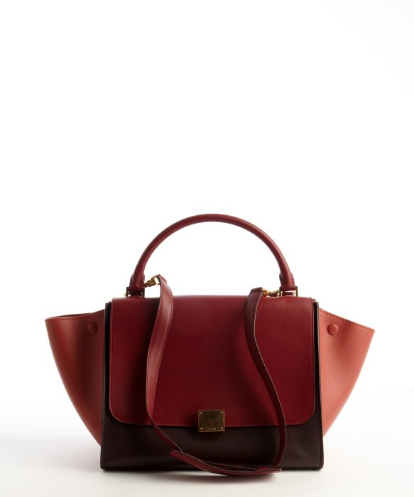 8d985591407f Céline Burgundy and Maroon Leather Trapeze Top Handle Bag in Red - Lyst
