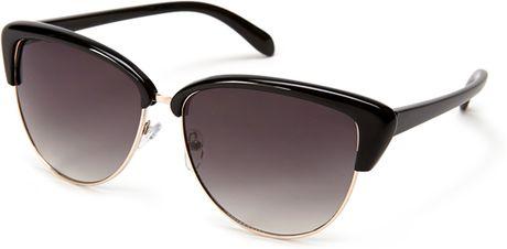 Forever 21 Halfframe Cat Eye Sunglasses in Gold (Black ...