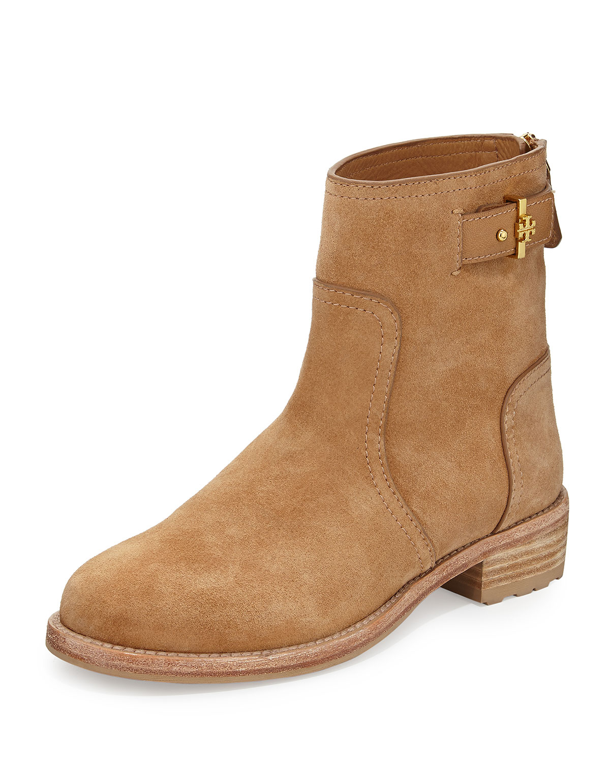 tory burch selena suede ankle boot in beige tuscan tan lyst. Black Bedroom Furniture Sets. Home Design Ideas