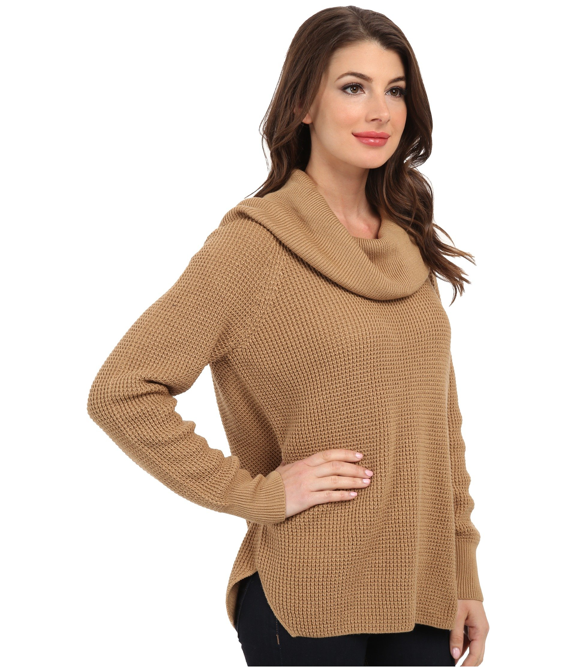 Michael michael kors Cowl Neck Sweater in Natural | Lyst