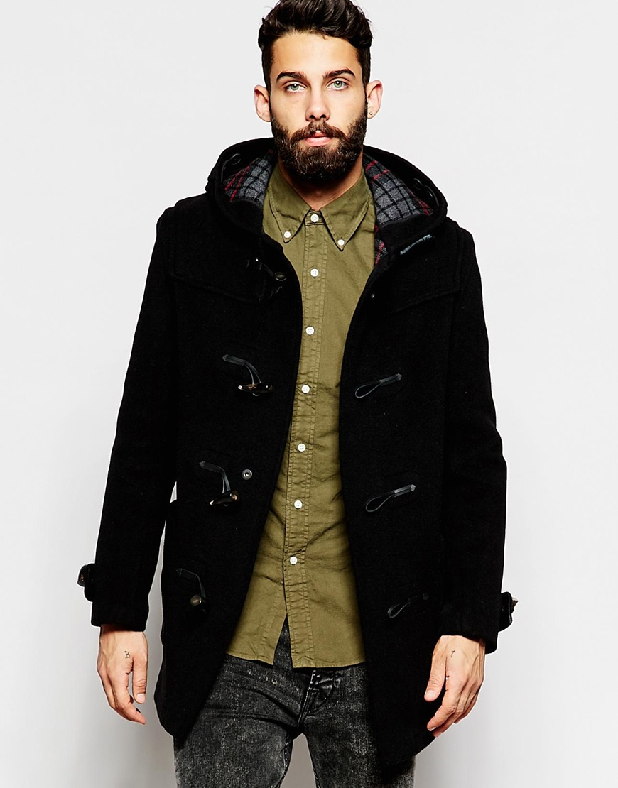 Gloverall Duffle Coat With Check Hood in Black for Men | Lyst
