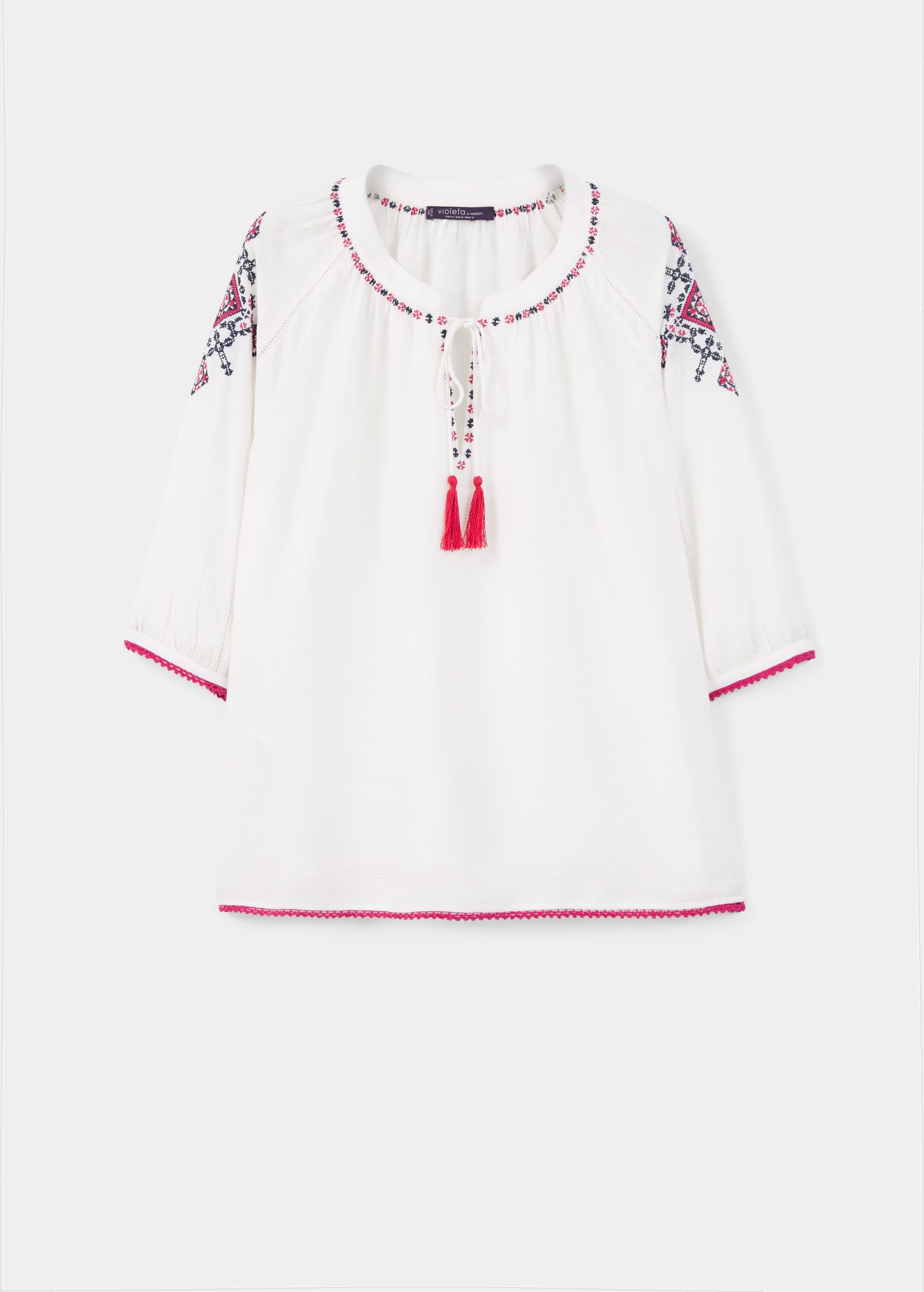 ea57b885c38108 Lyst - Violeta by Mango Embroidered Boho Blouse in White