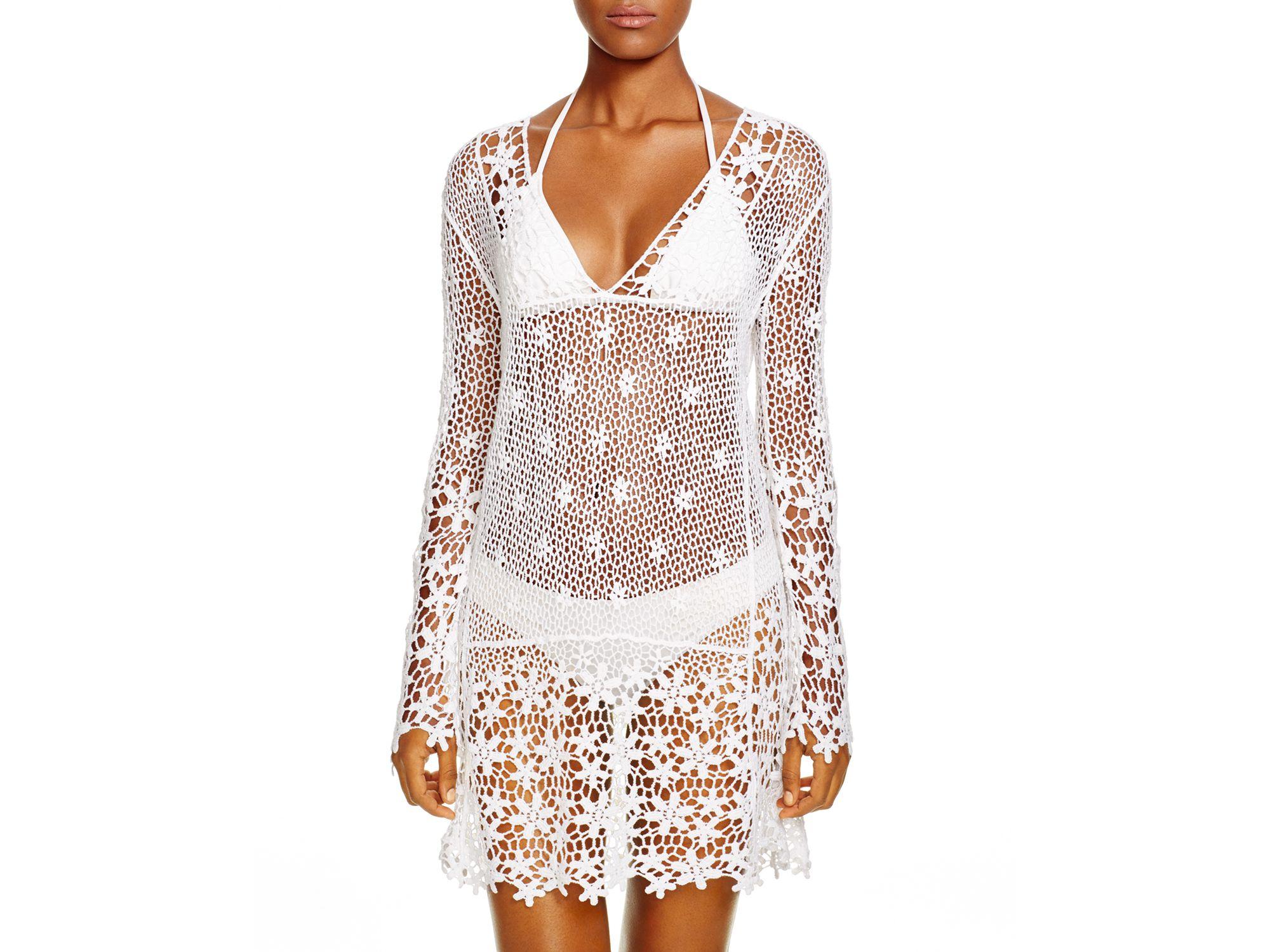 812aa810f1 Lyst - J Valdi Crochet Cotton Mini Dress in White