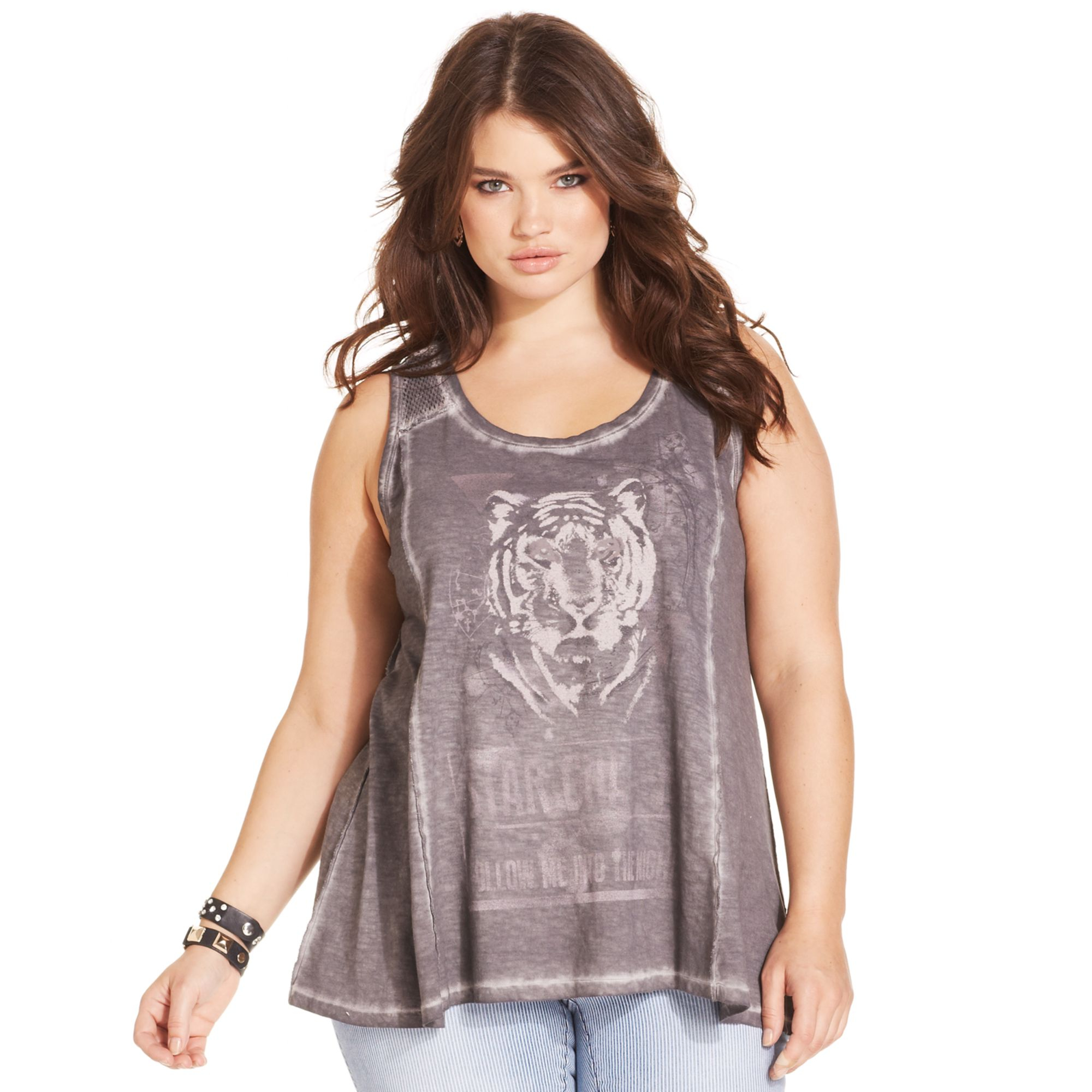 jessica simpson plus size tigerprint tank top in black | lyst