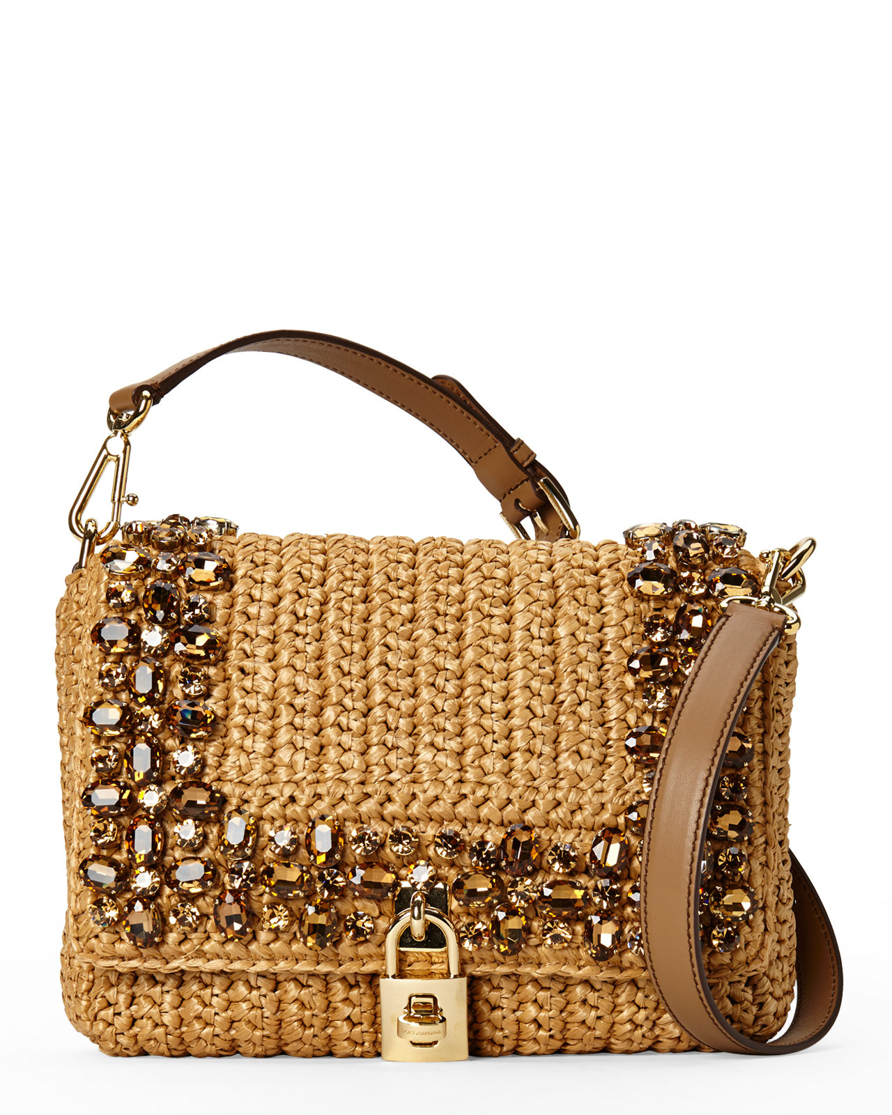 b13253b63b12 Lyst - Dolce   Gabbana Embellished Raffia Shoulder Bag in Brown