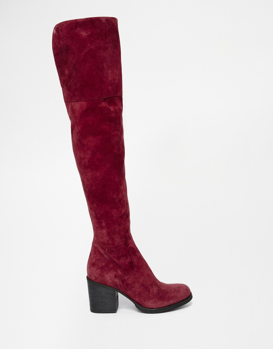 Steve madden Octagon Burgundy Heeled Over The Knee Boots in Purple