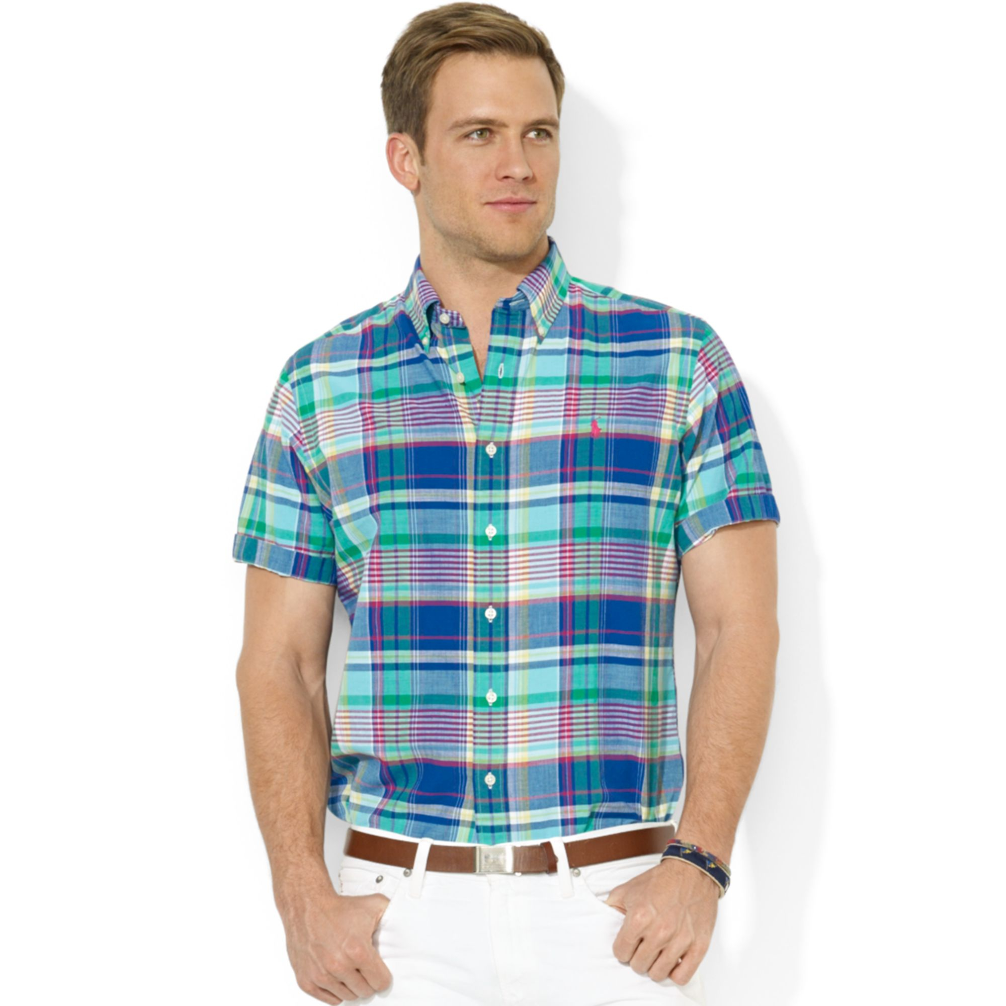 Lyst polo ralph lauren classic fit short sleeve madras for Men s classic dress shirts
