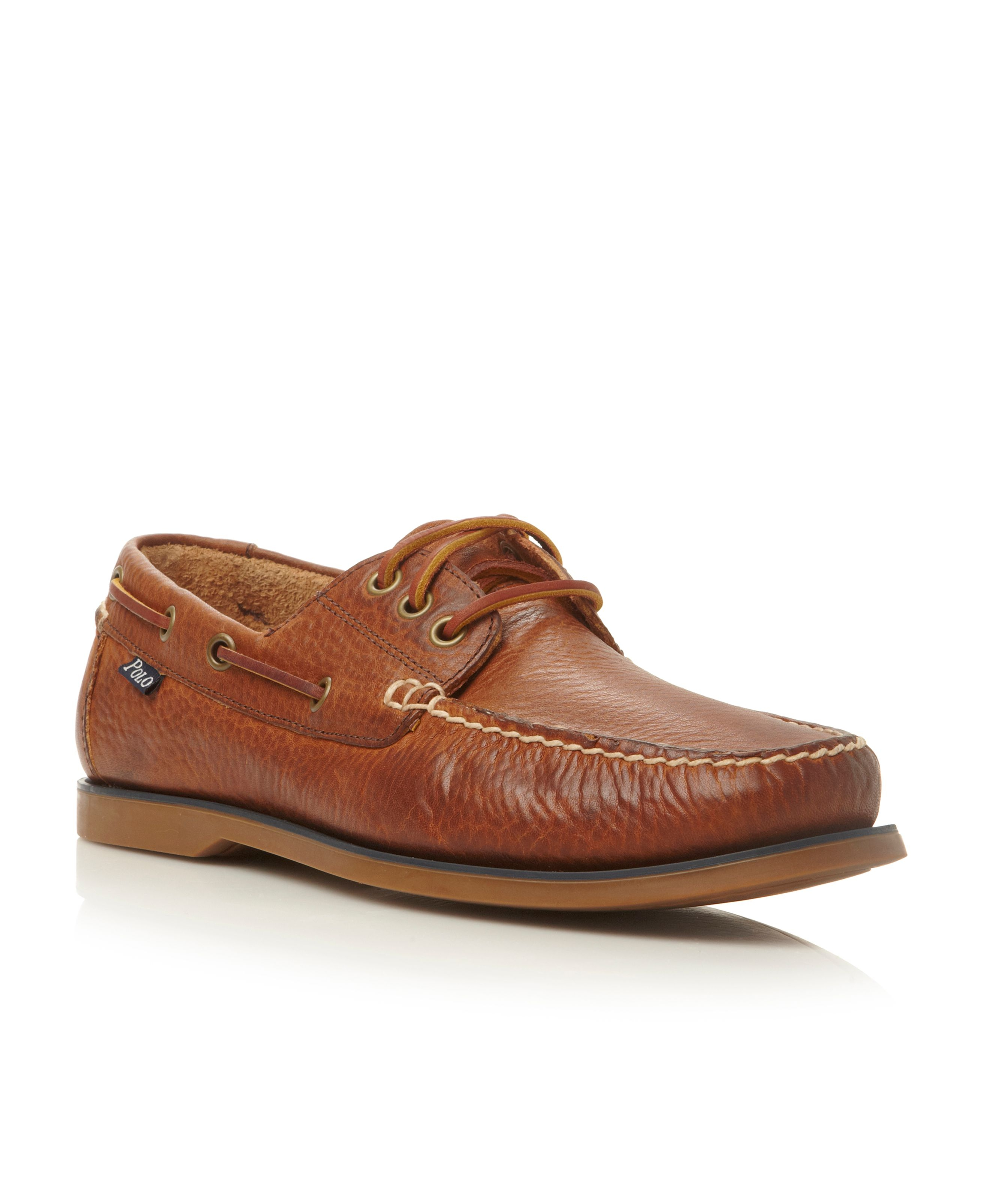 polo ralph bienne lace up tumbled leather boat
