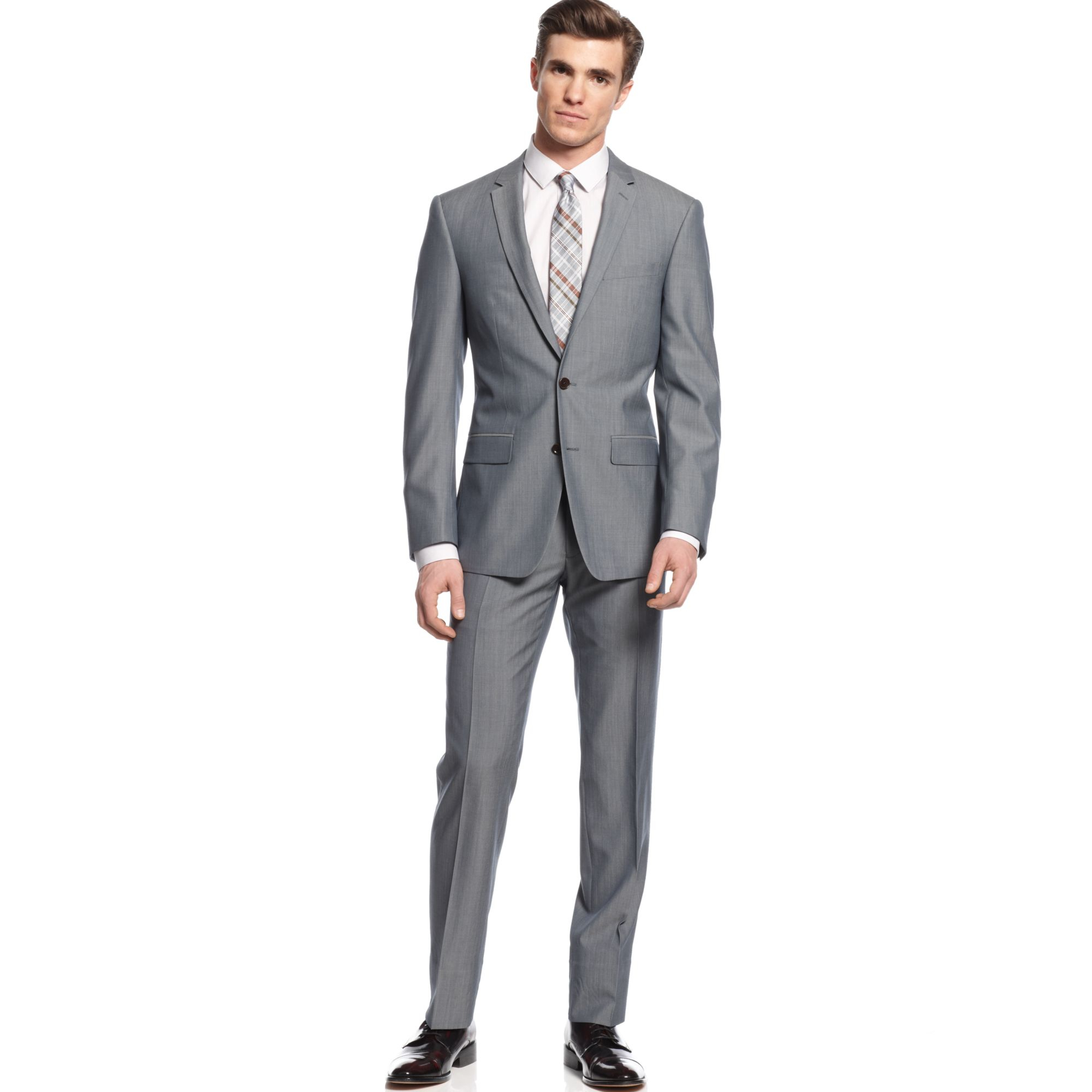 dkny grey suit extra slim fit in gray for men grey lyst