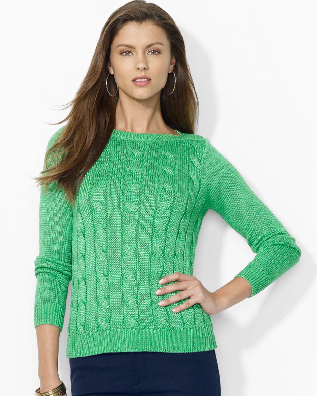 Ralph lauren Lauren Cableknit Cotton Sweater in Green | Lyst