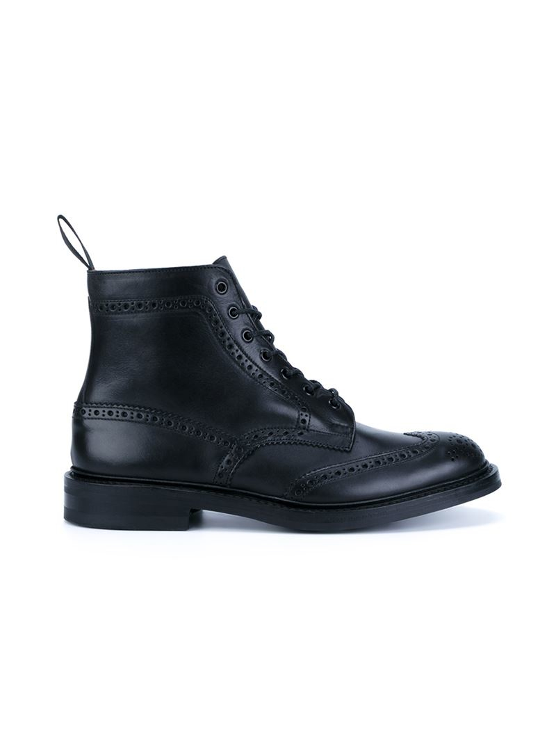 Tricker's Brogue Detail Combat Boots in Black for Men