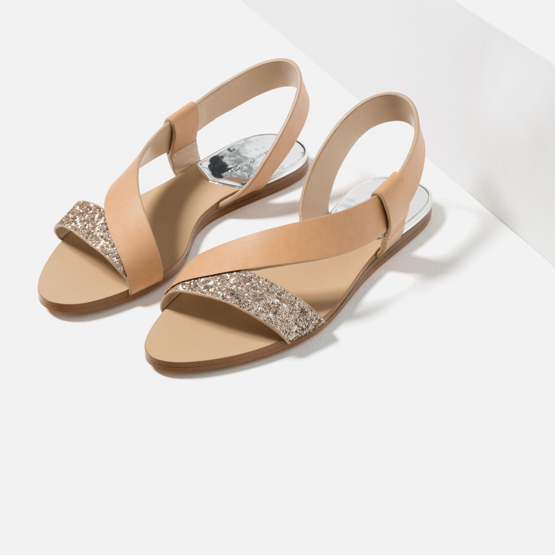 zara flat sparkle sandals lyst