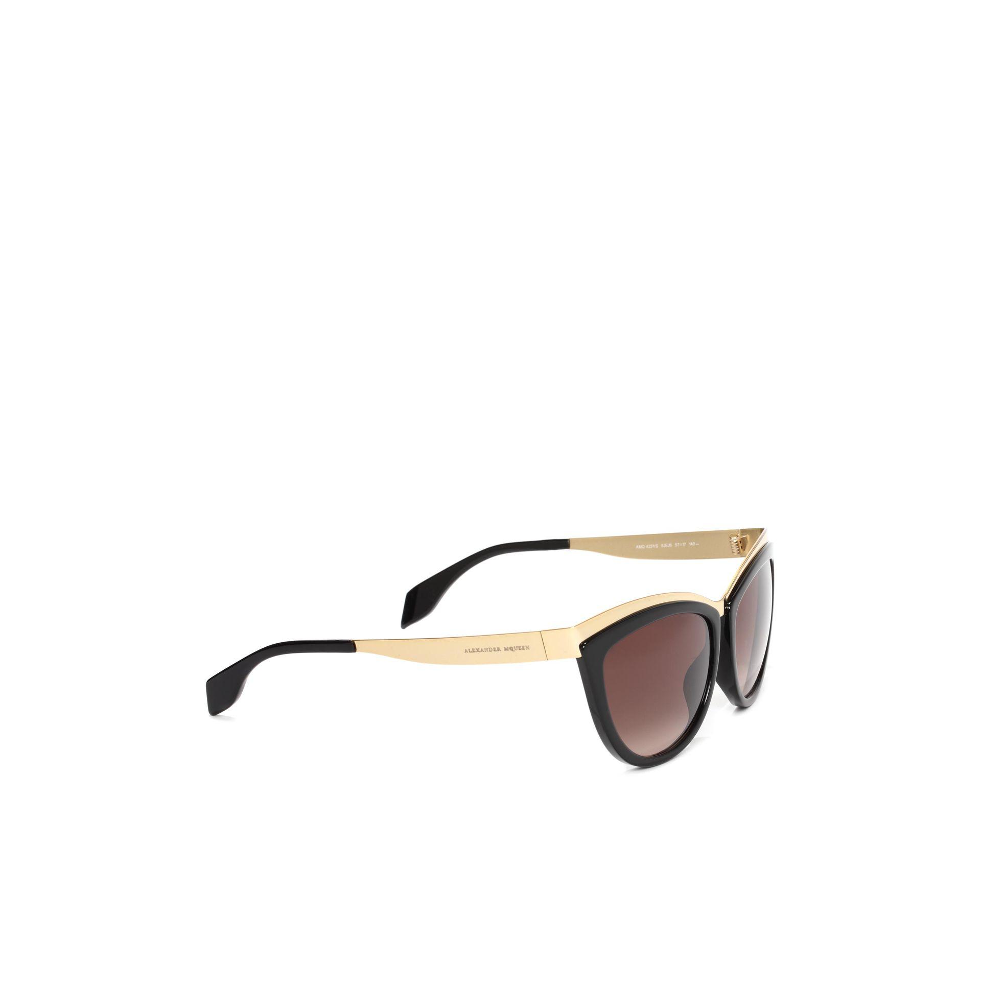 33f0ae0f8cc Lyst - Alexander McQueen Metal Brow Cat Eye Sunglasses in Metallic ...