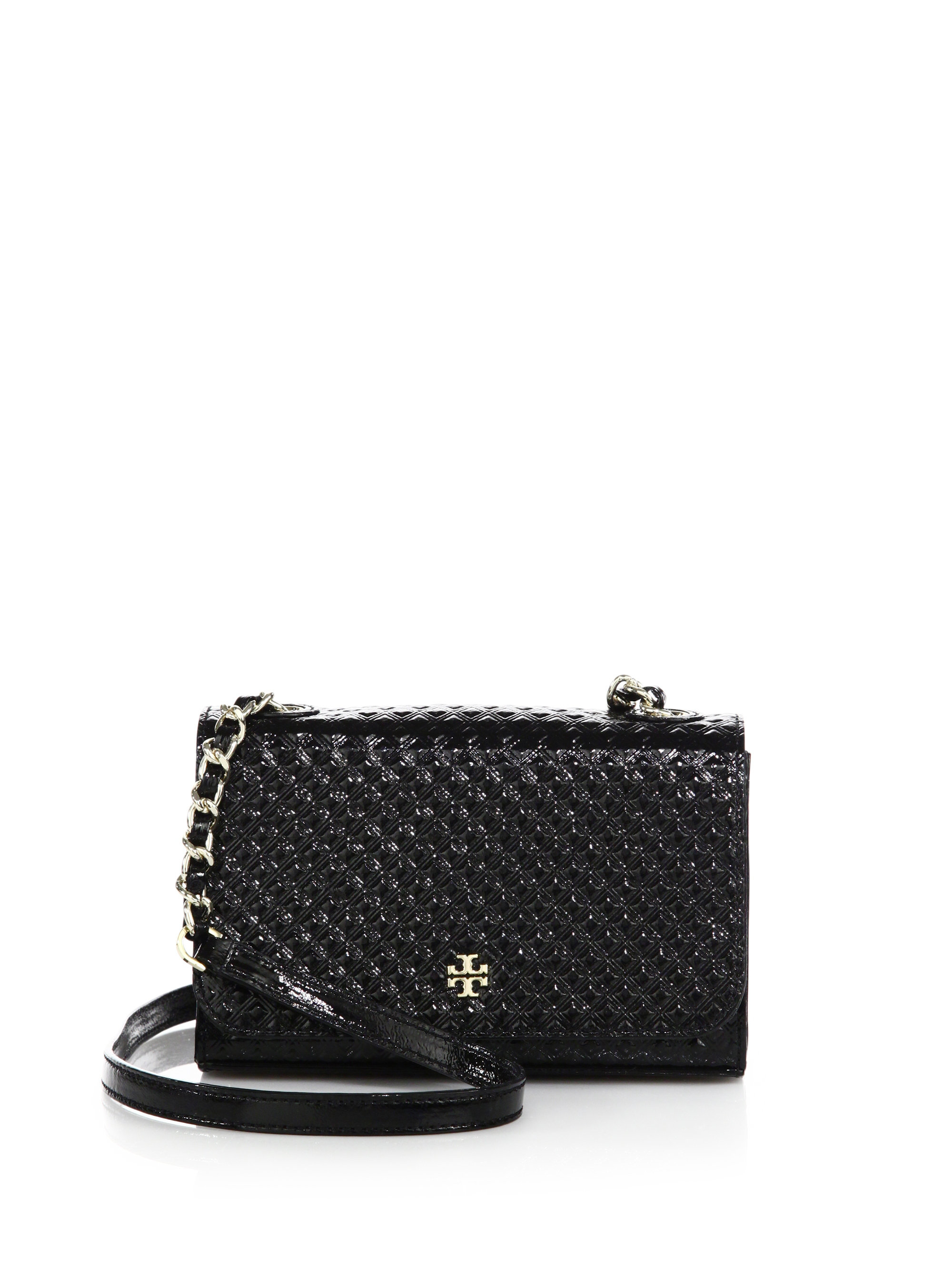 Lyst - Tory Burch Marion Shrunken Embossed Patent Leather Crossbody ... dd2530d3527a2