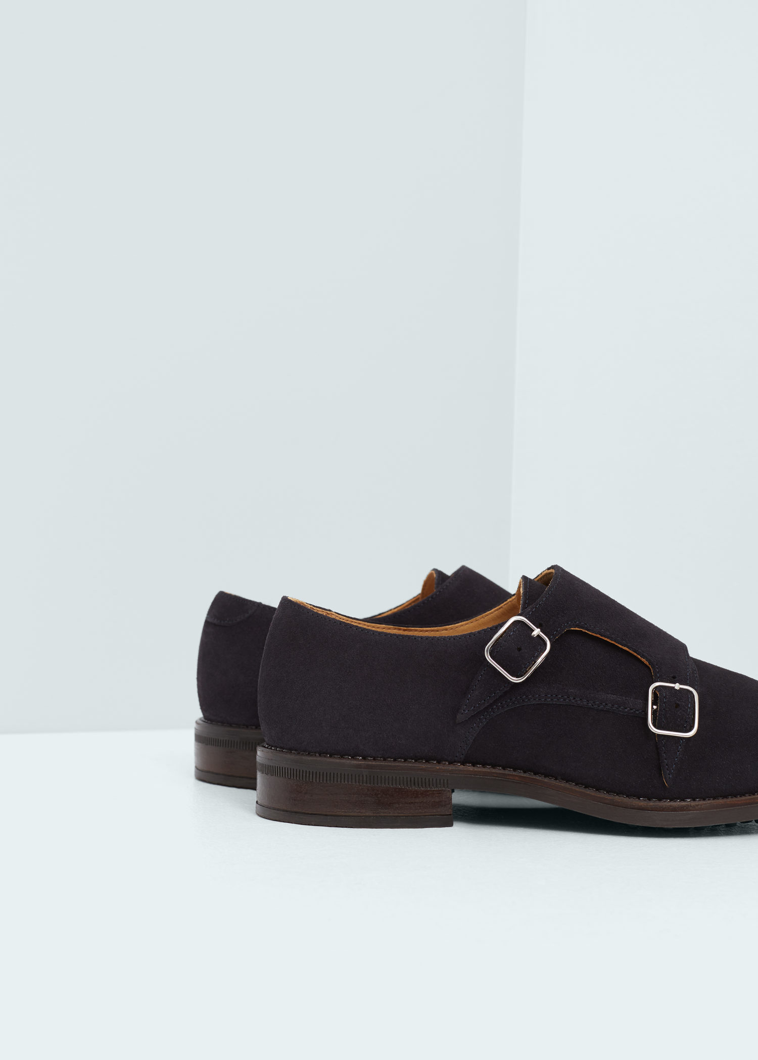 MANGO Leather monk-strap shoes