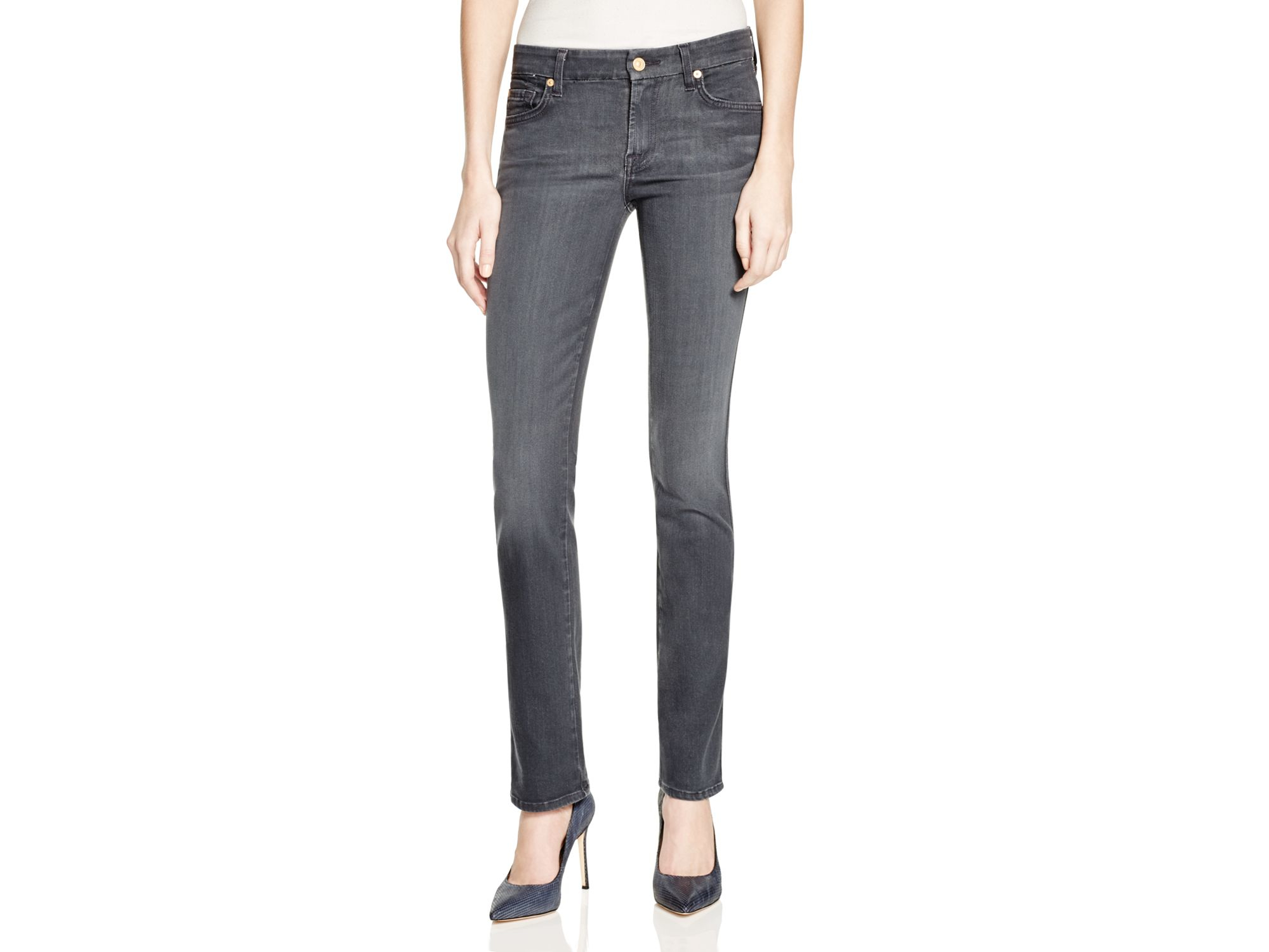 7 for all mankind Kimmie Straight Leg Jeans In Bastille Grey ...
