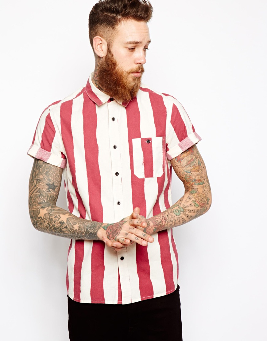 Red And White Shirt Mens | Artee Shirt