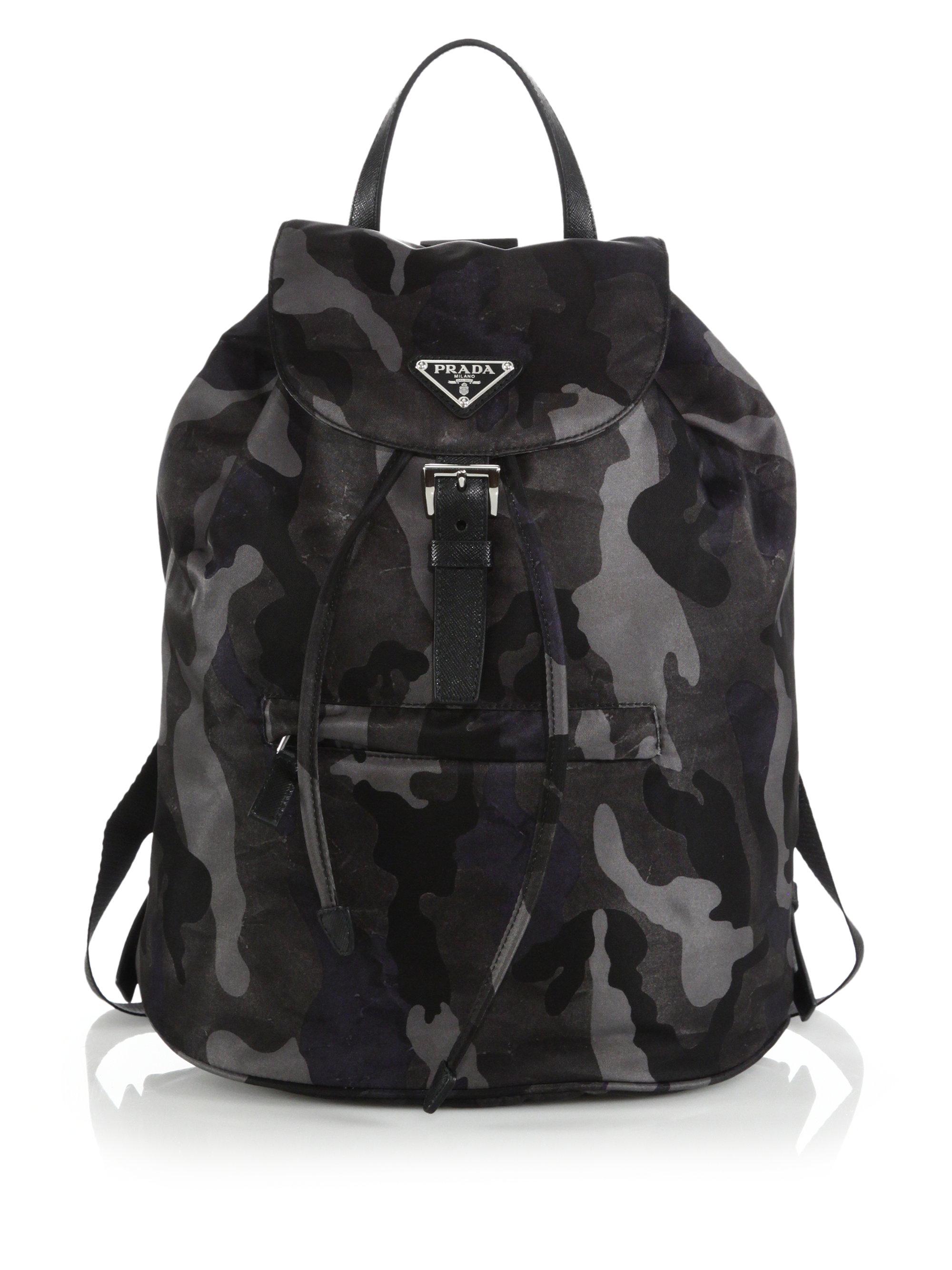 94655fc8ec5481 ... buy lyst prada tessuto camouflage backpack in black 0d848 b9677