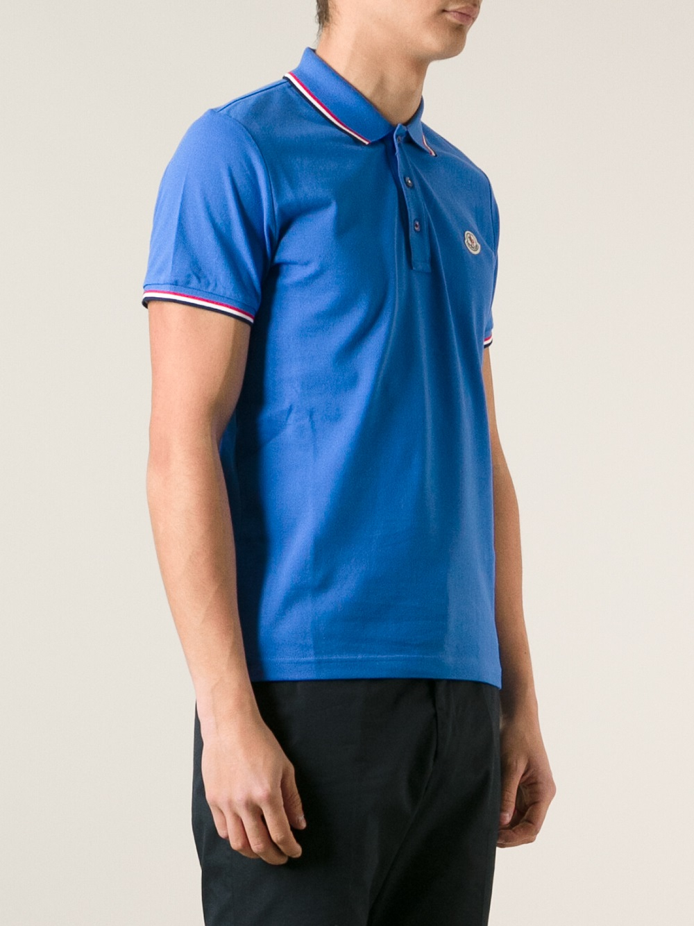3408e01fc In Lyst Moncler Polo Fit Men Blue For Shirt Slim ZXHAxUwX