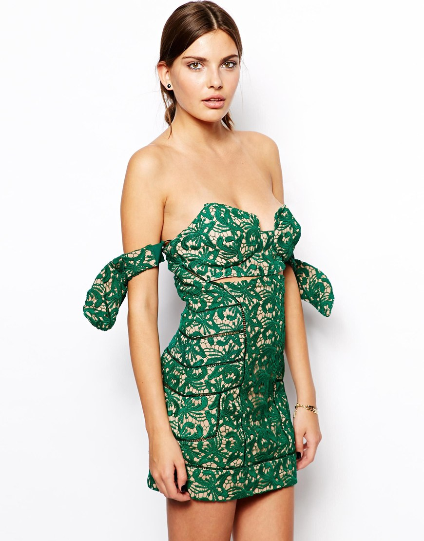 Lyst - Self-Portrait Lace Dress with Bow Sleeves in Green