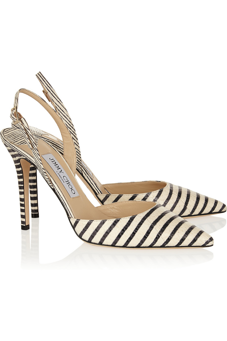 27228bc73425 Lyst - Jimmy Choo Tarida Striped Elaphe Pumps in Black