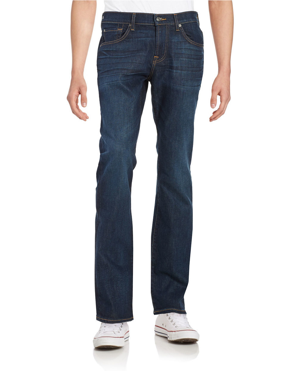 for all mankind austyn relaxed straight jeans in blue for men lyst. Black Bedroom Furniture Sets. Home Design Ideas