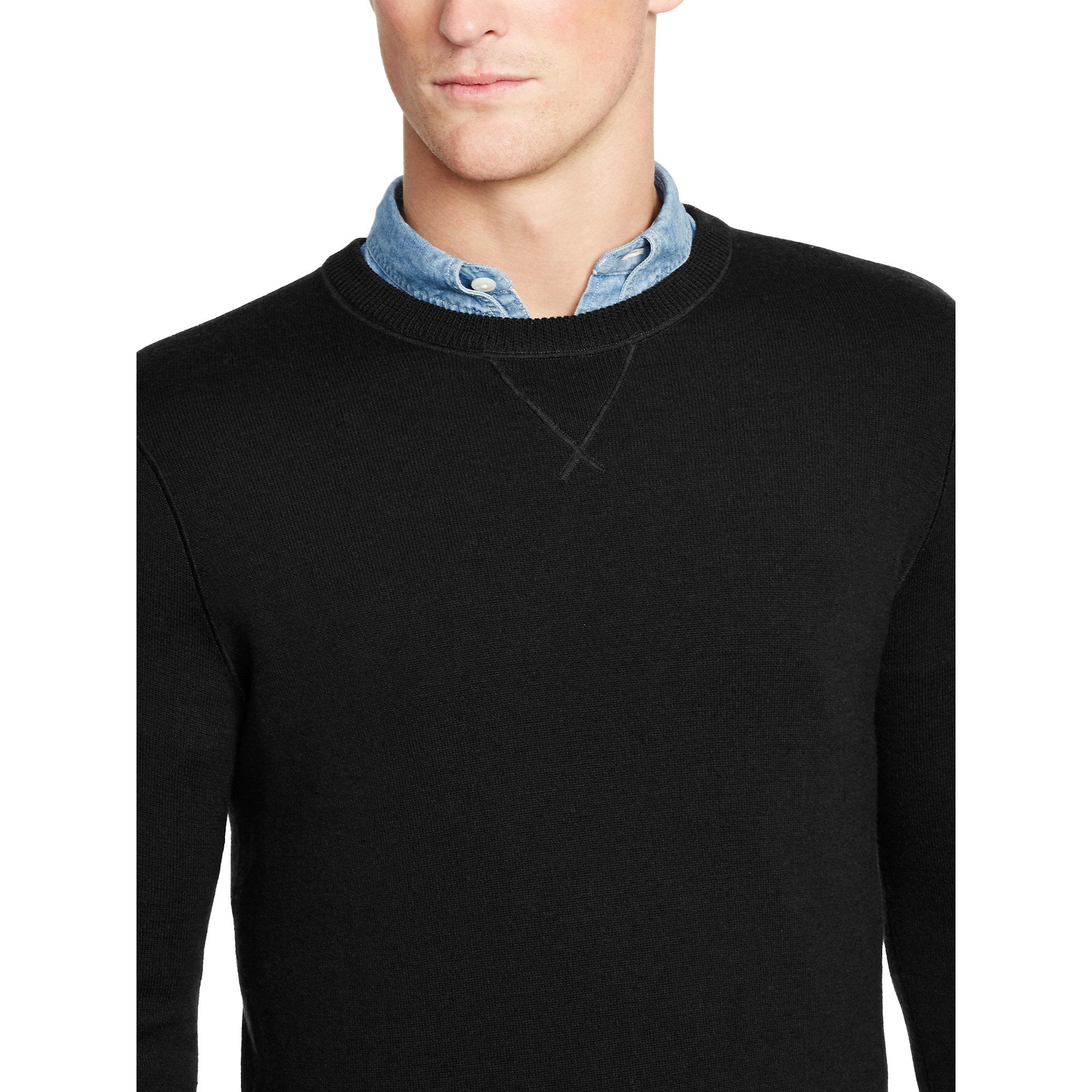 e68eb3c3a55c6c Polo Ralph Lauren Merino Wool Crewneck Sweater in Black for Men - Lyst