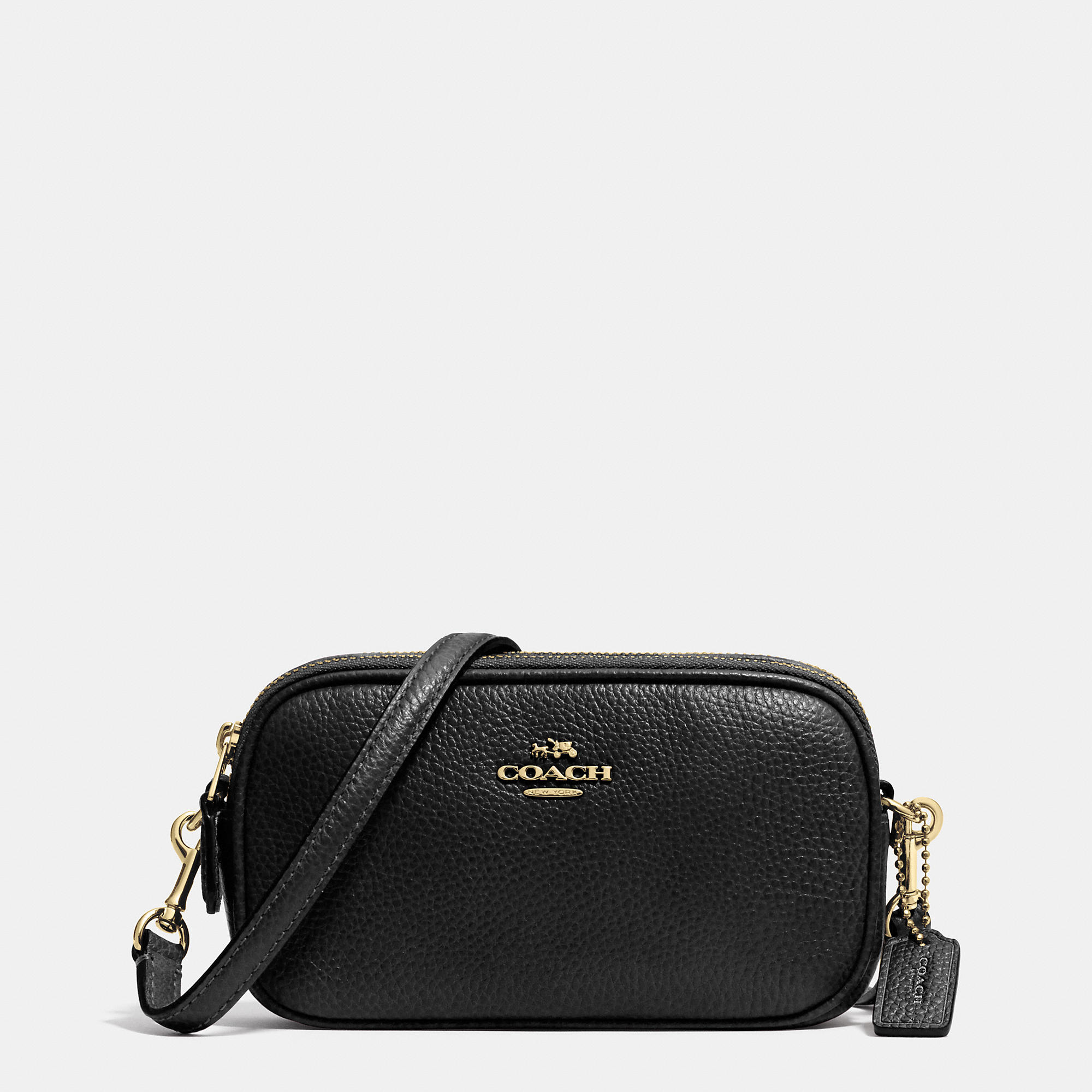 Lyst - COACH Crossbody Pouch In Pebble Leather in Black aa358b17a282