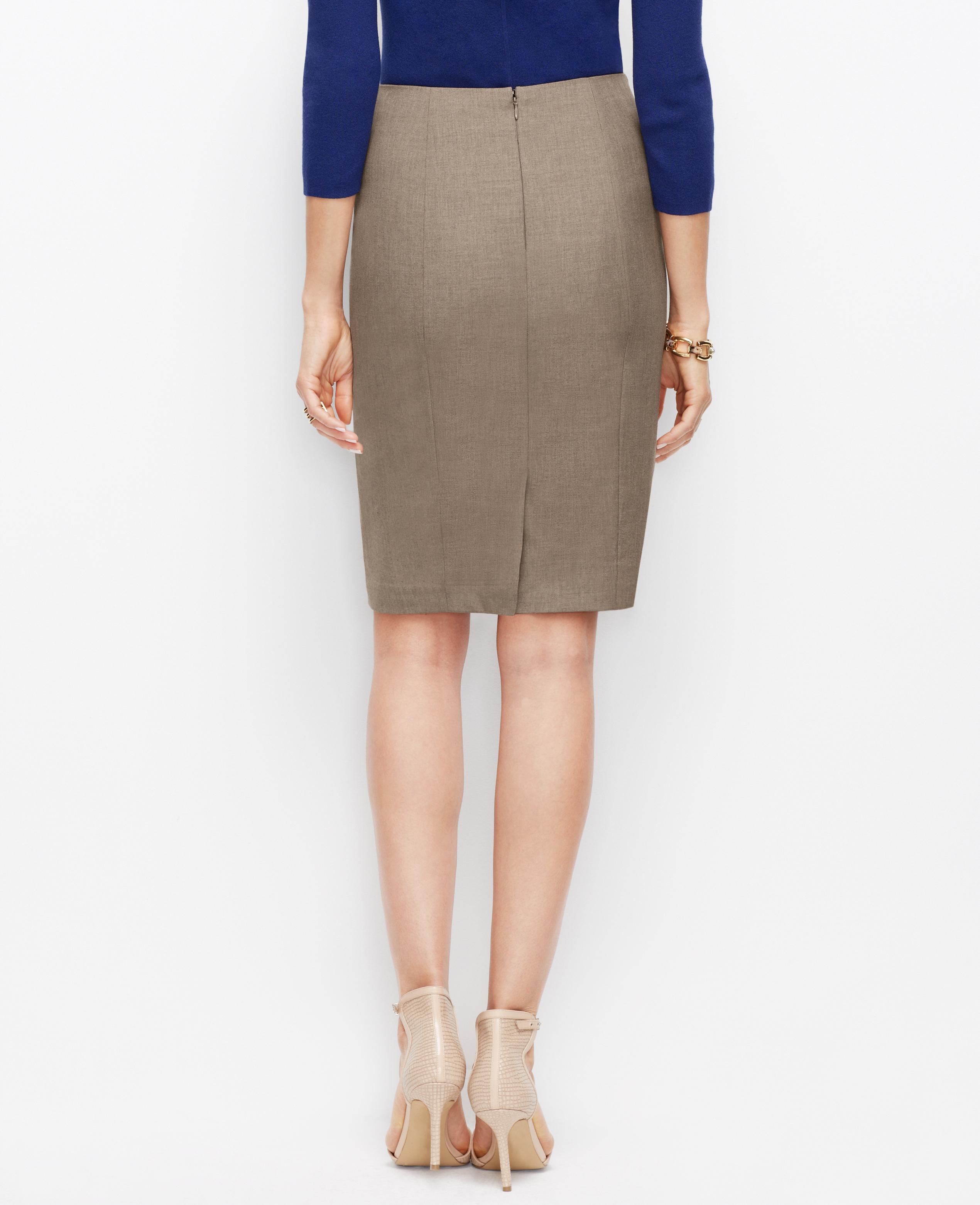28e563b70 Ann Taylor Petite All-Season Stretch Pencil Skirt in Brown - Lyst