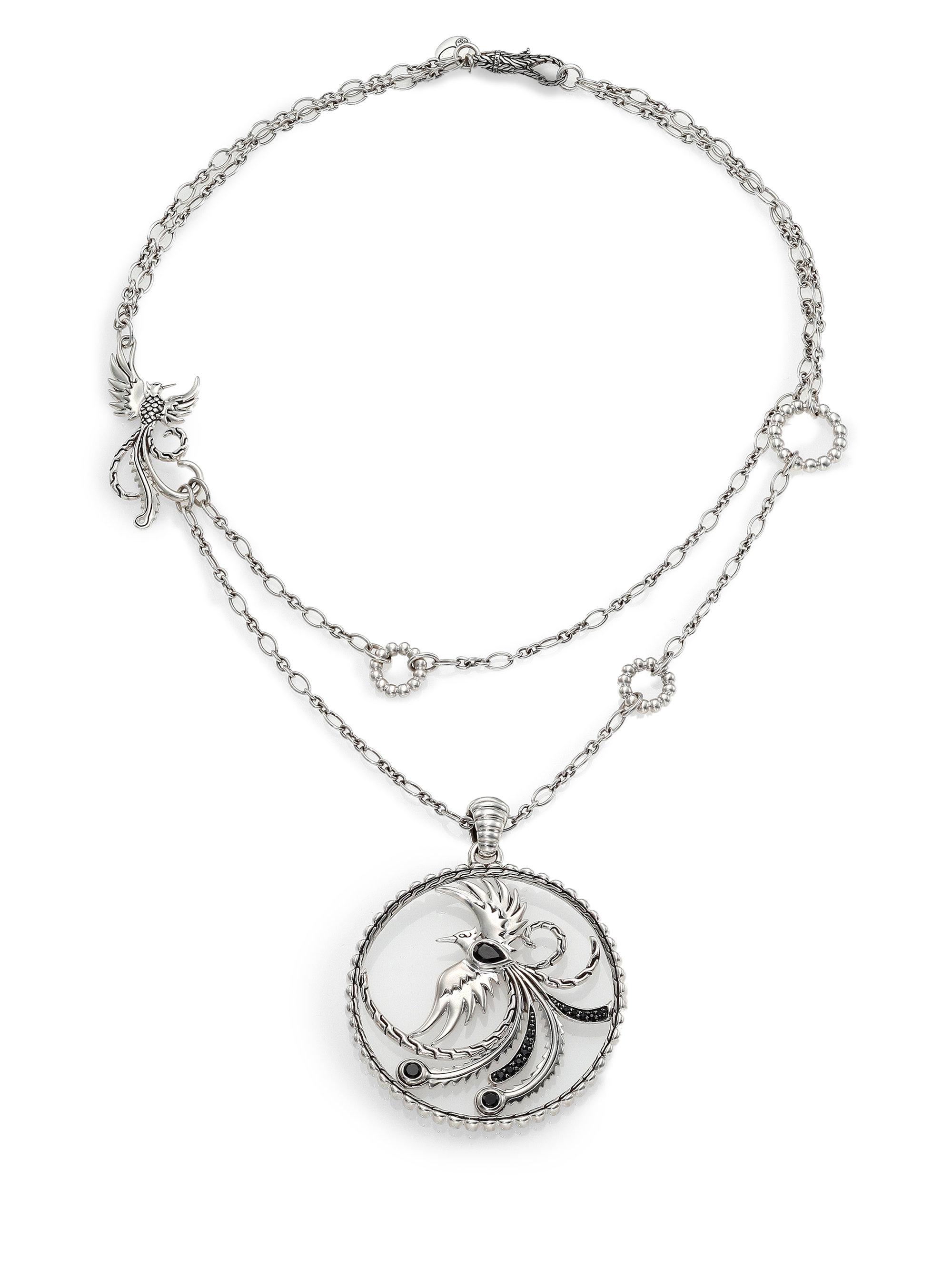 John Hardy Bedeg Black Sapphire Cushion Pendant Necklace P9kwhT