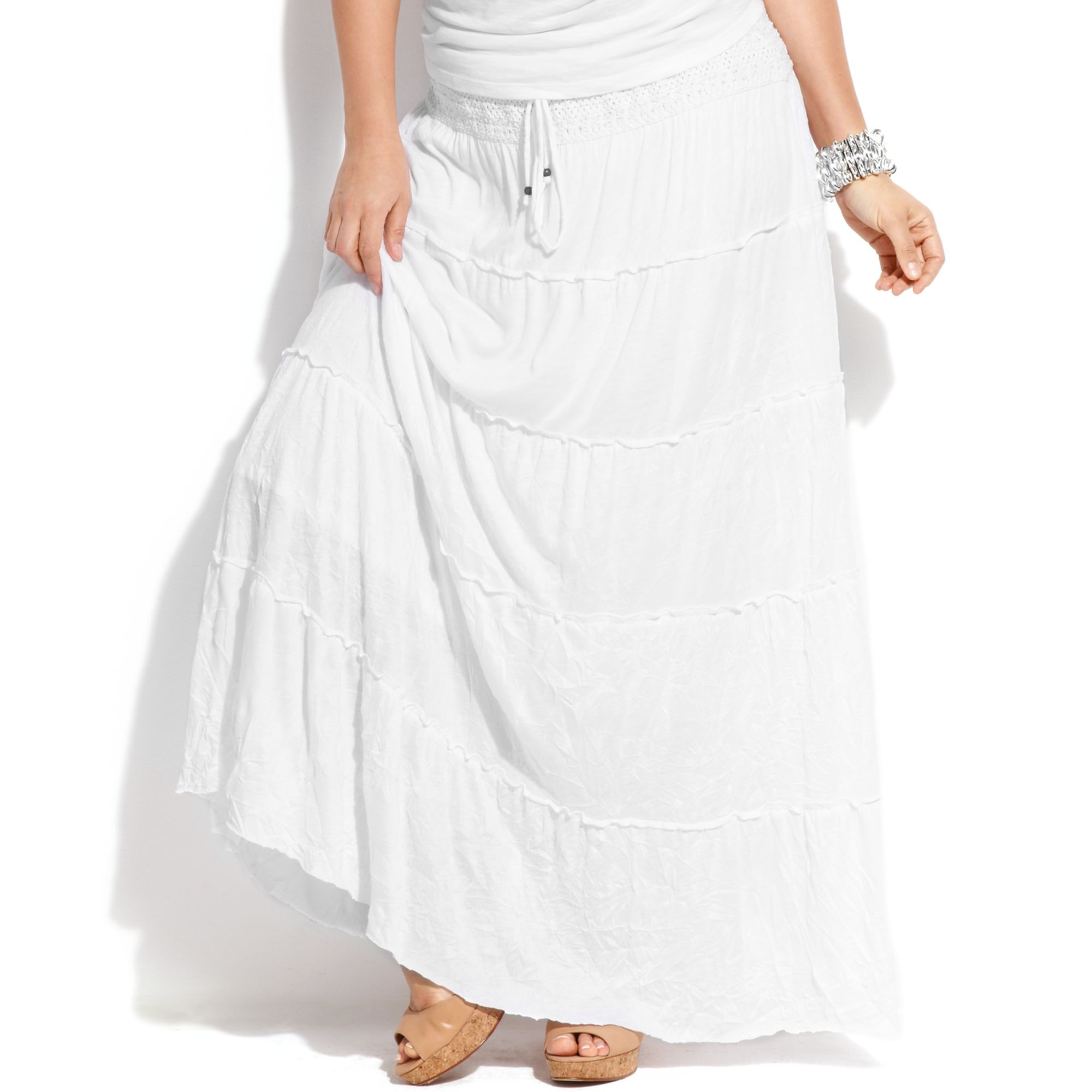 Inc international concepts Plus Size Tiered Maxi Skirt in White | Lyst