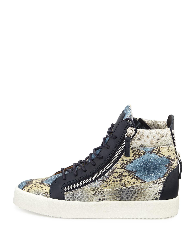 Blue Multi Giuseppe Zanotti Printed Snake Sneakers