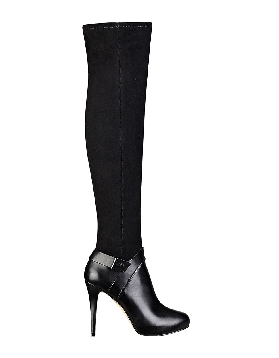 guess elka leather the knee boots in black lyst