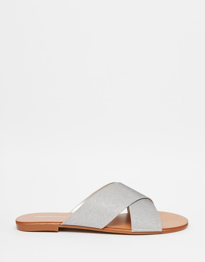 e11a9d261bf0c7 Lyst - London Rebel Cross Strap Slide Flat Sandals in Metallic