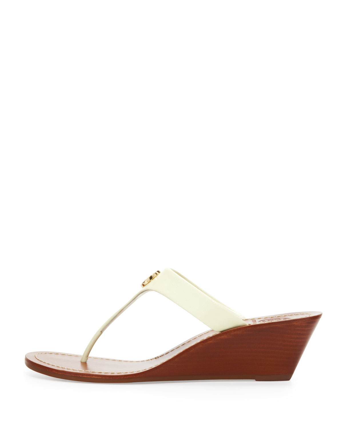 e9529af9dc36 Lyst - Tory Burch Cameron Patent Thong Wedge Sandal Ivory in White