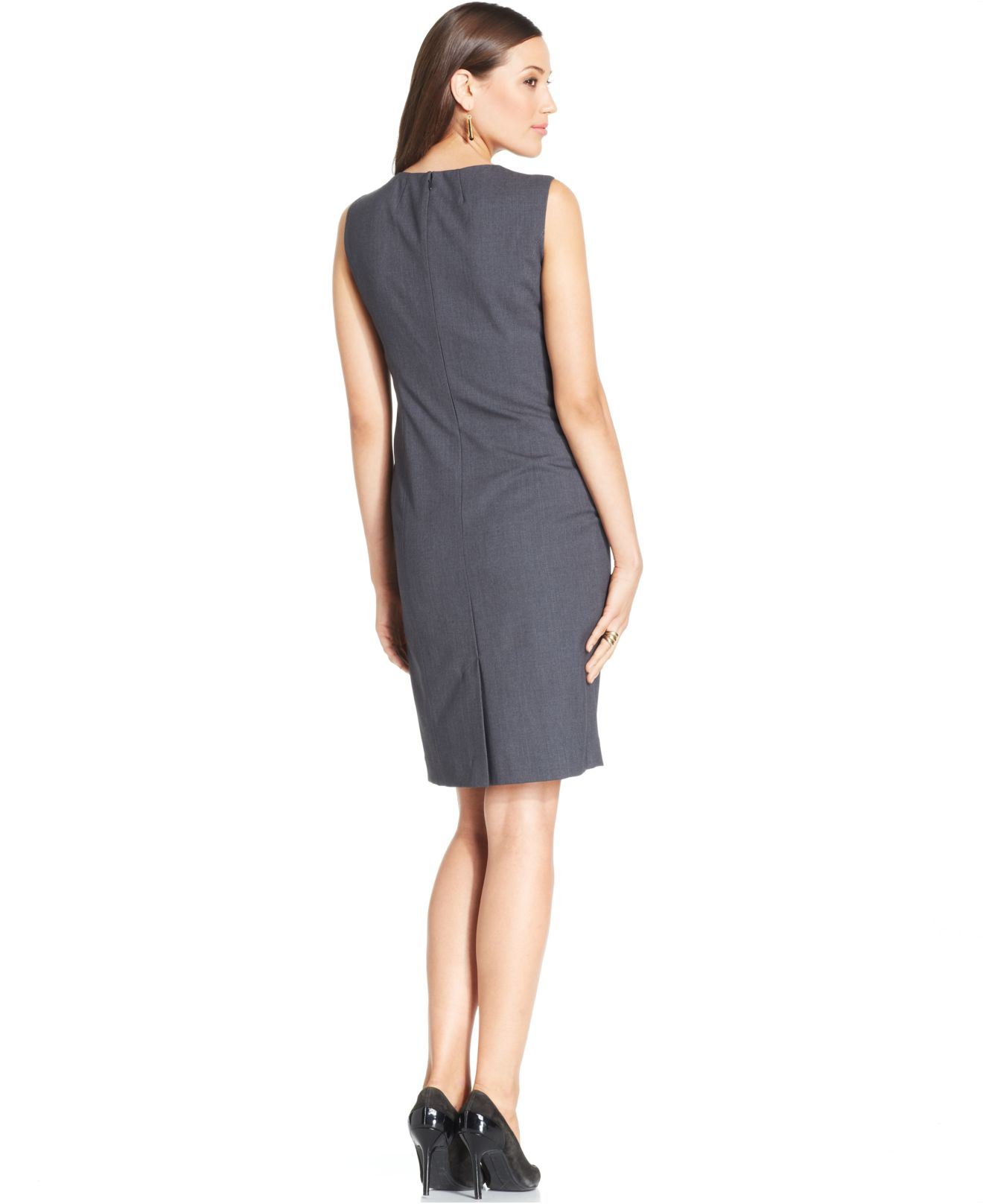 b4ec8c50 Jones New York Sleeveless Seamed Sheath Dress in Gray - Lyst