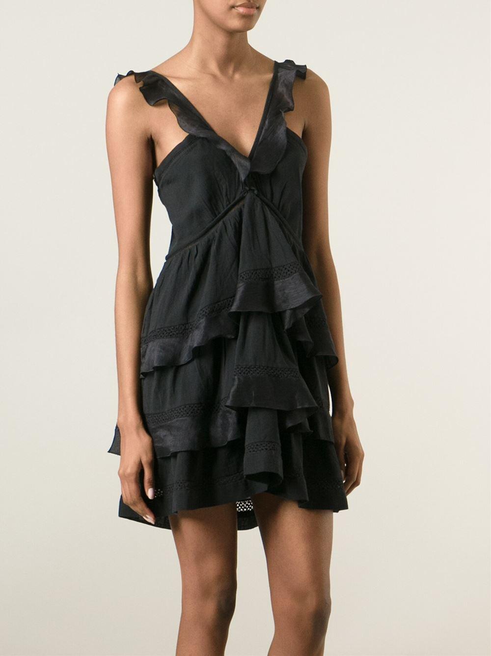 lyst toile isabel marant 39 casey 39 dress in black. Black Bedroom Furniture Sets. Home Design Ideas