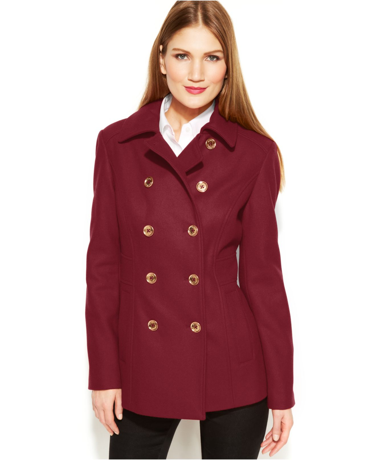 Michael kors Michael Double-Breasted Wool-Blend Peacoat in Red   Lyst