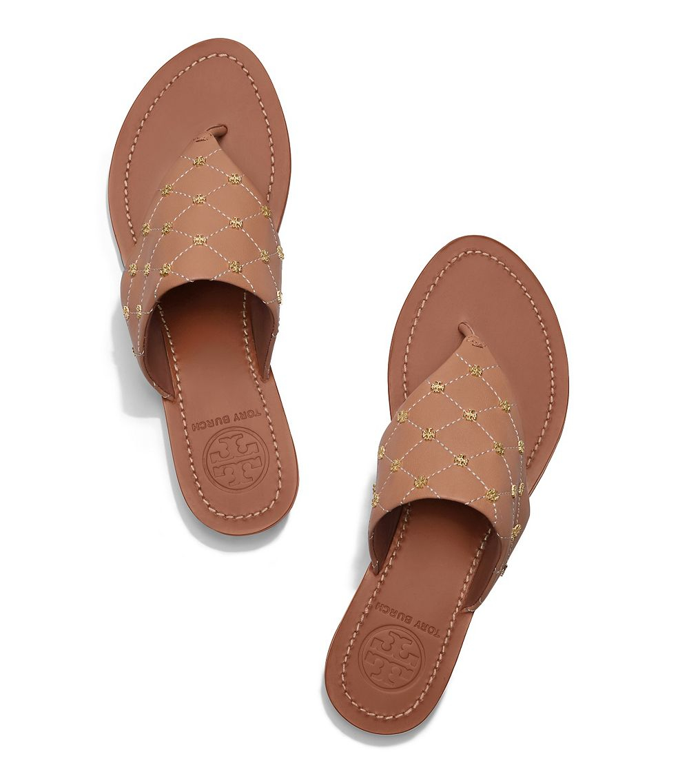 848a255af39b Lyst - Tory Burch Quilt-stitch Studded Thong Sandal in Brown