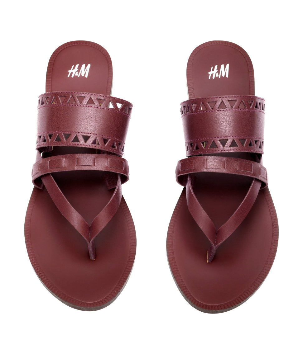 Lyst H Amp M Leather Sandals In Purple