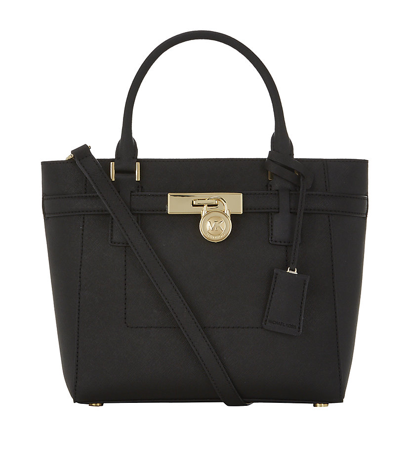 Michael Kors Hamilton Laukku : Michael kors medium hamilton satchel in black lyst