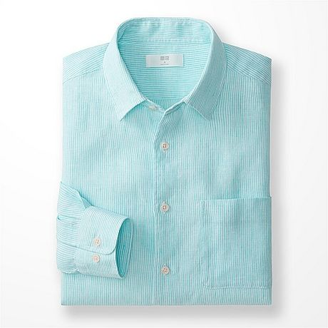 Uniqlo premium linen stripe long sleeve shirt in green for for Uniqlo premium t shirt