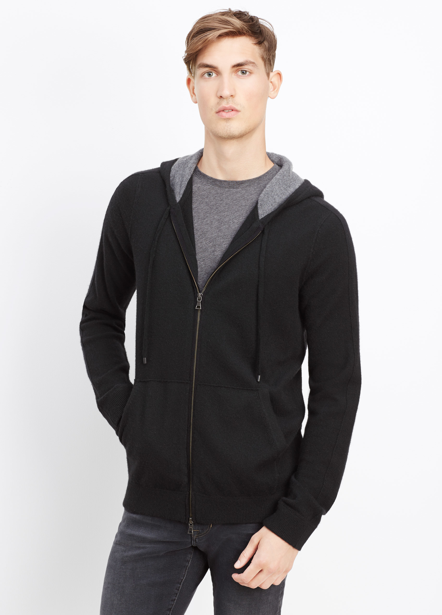 Vince Cashmere Hoodie With Raised Seam Detail in Black for Men | Lyst