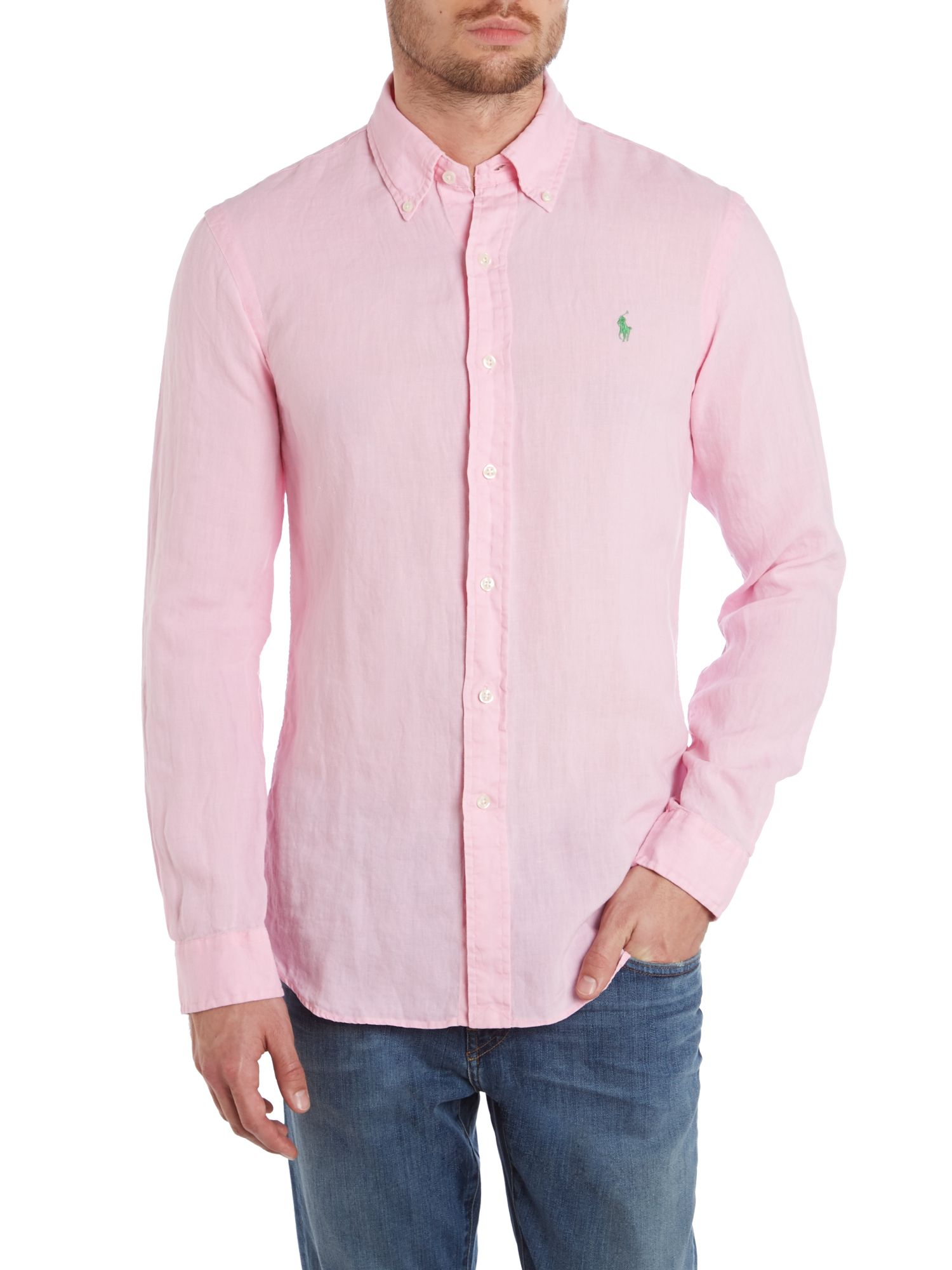 polo ralph lauren ralph lauren slim fit linen shirt in pink for men lyst. Black Bedroom Furniture Sets. Home Design Ideas