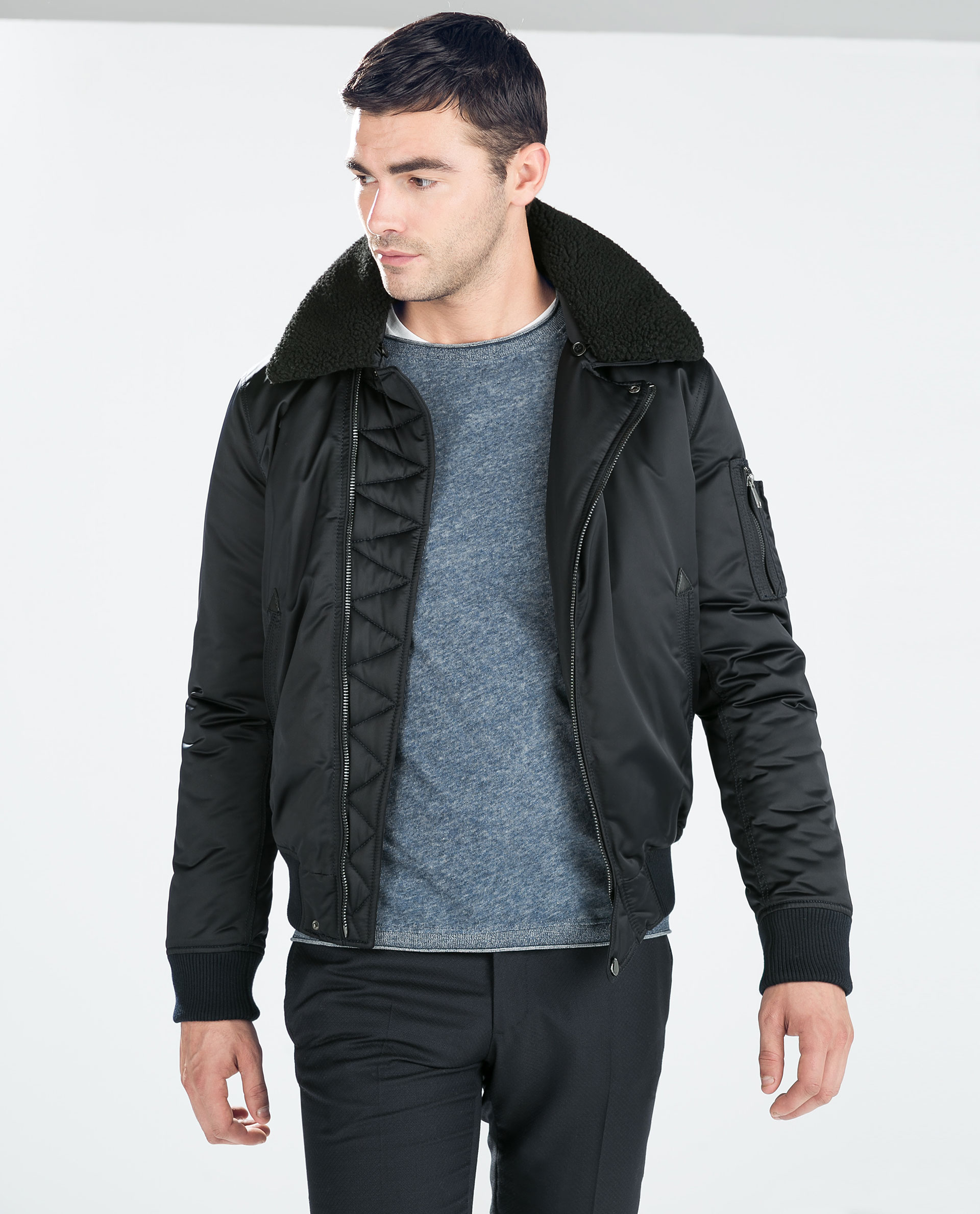 Zara Jacket With Fur Collar in Blue for Men | Lyst