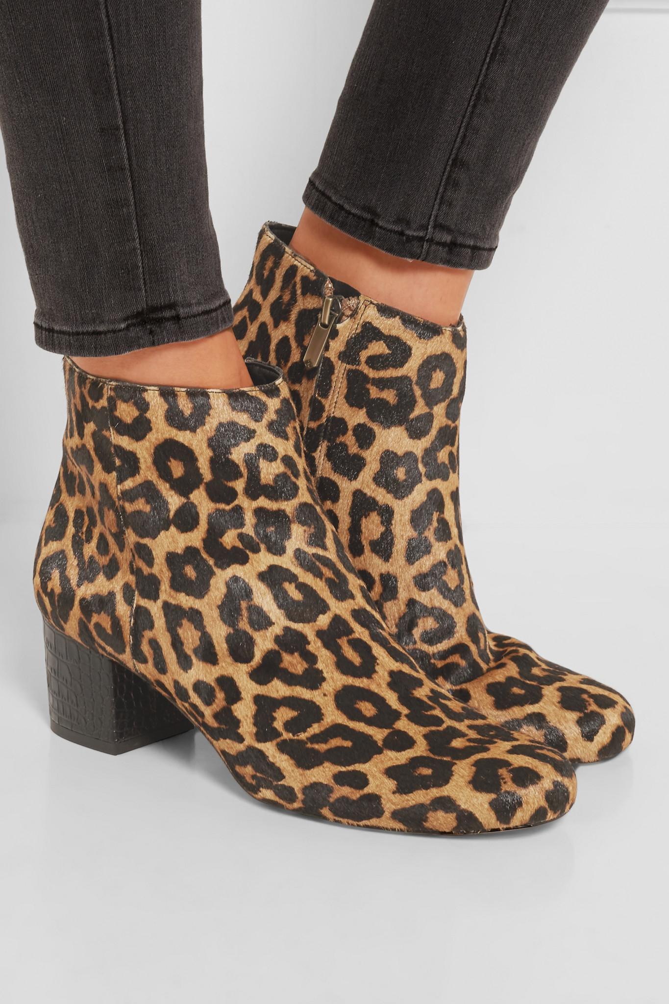 Sam edelman Edith Leopard-print Calf Hair Ankle Boots in ...