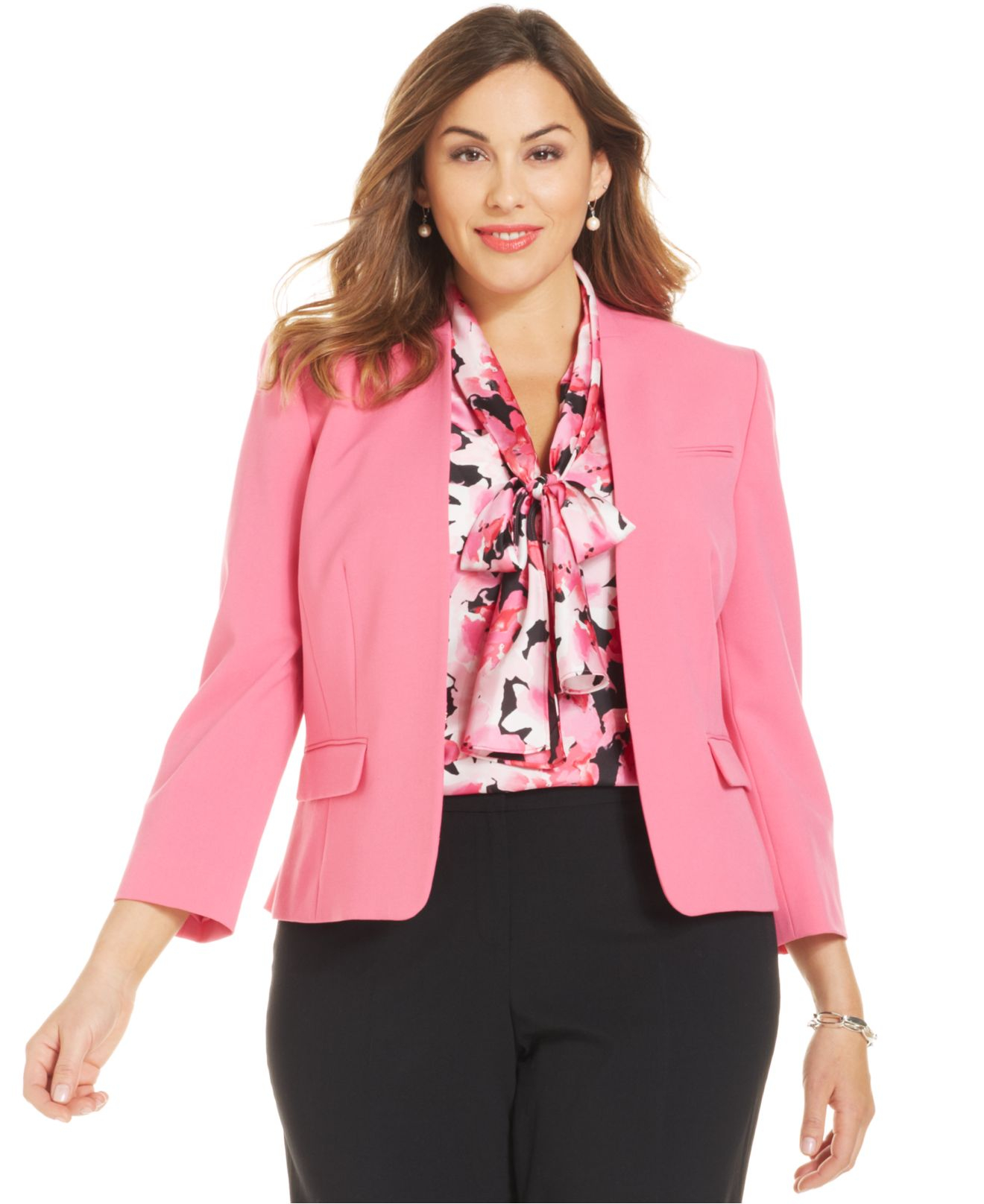 Nine west Plus Size Collarless Blazer in Pink | Lyst