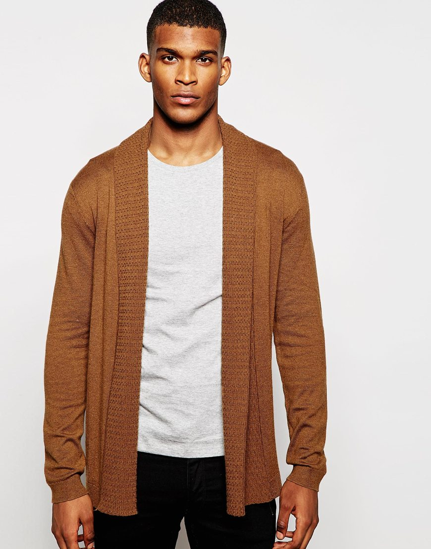 Asos Open Front Cardigan In Merino Wool Mix With Texture Lapel in ...