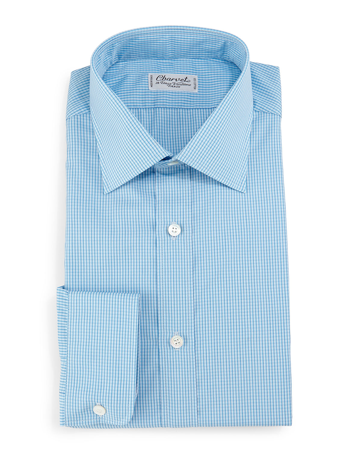 Charvet Check Barrel Cuff Dress Shirt In Blue For Men Lyst