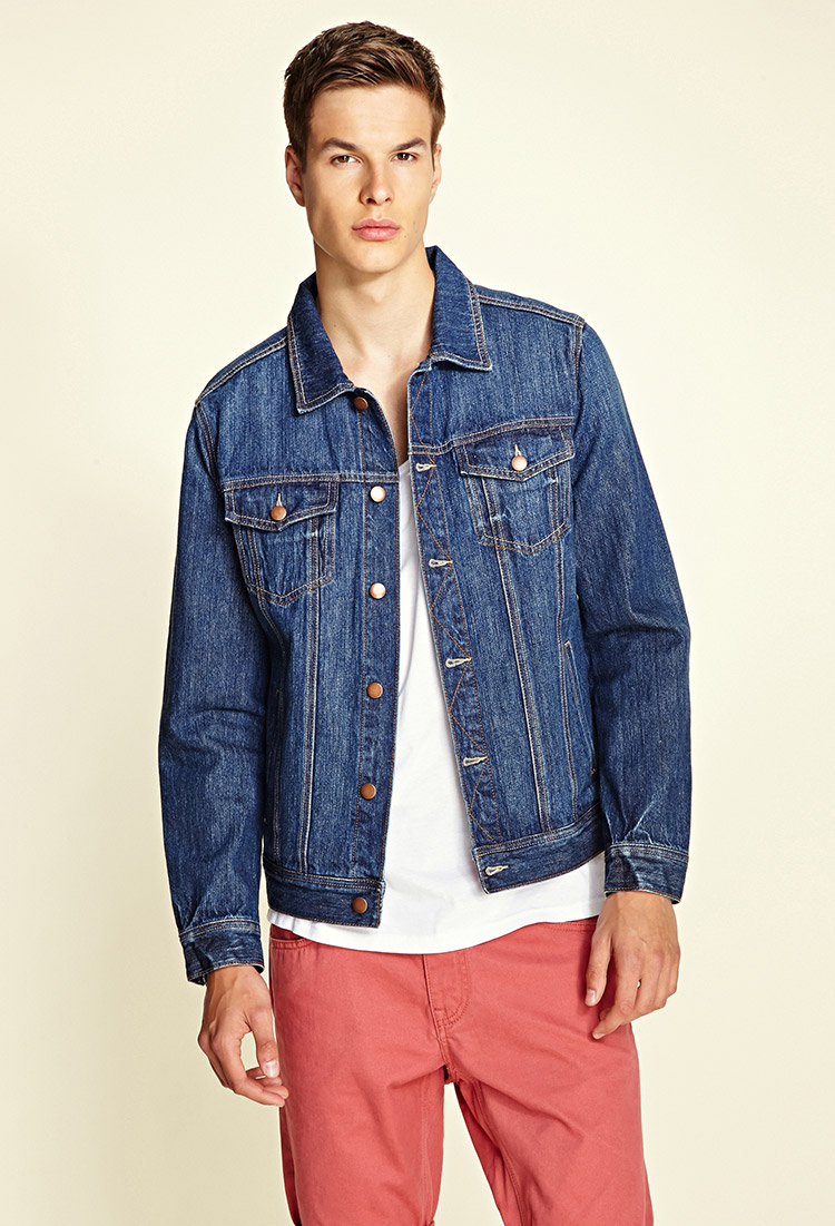 Forever 21 Classic Denim Jacket in Blue for Men | Lyst
